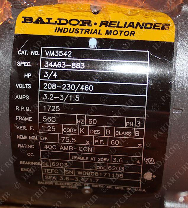 Baldor Vm3542 Industrial Motor 3 4hp 1725rpm Spec 34a63