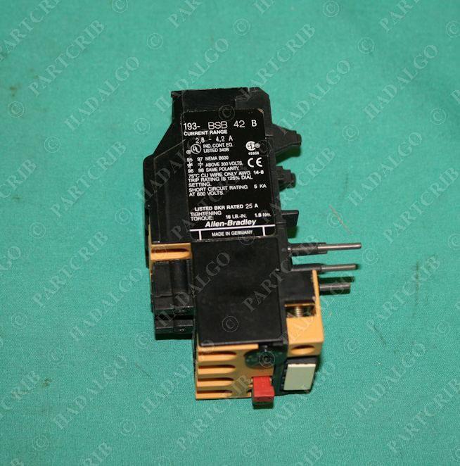 Allen bradley 193 bsb42 bimetallic motor overload relay 2 8 4 2a new Motor overload relay