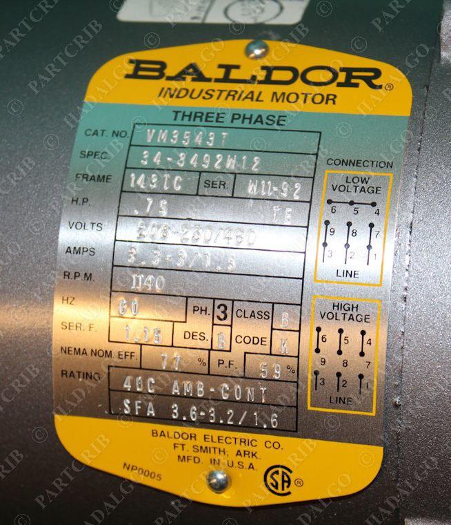 Baldor vm3543t electric motor 1140rpm 3ph 3 4hp 75hp for 3 4 hp electric motor