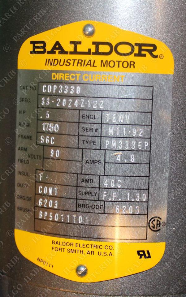 Baldor cdp3330 motor 1750rpm 1 2 hp tenv 90vdc direct for 2 hp motor current