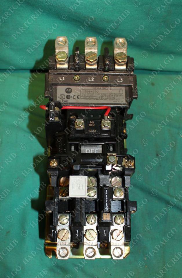 Allen bradley 509 c0j 509 coj motor starter contactor for Sizing motor starters and overloads
