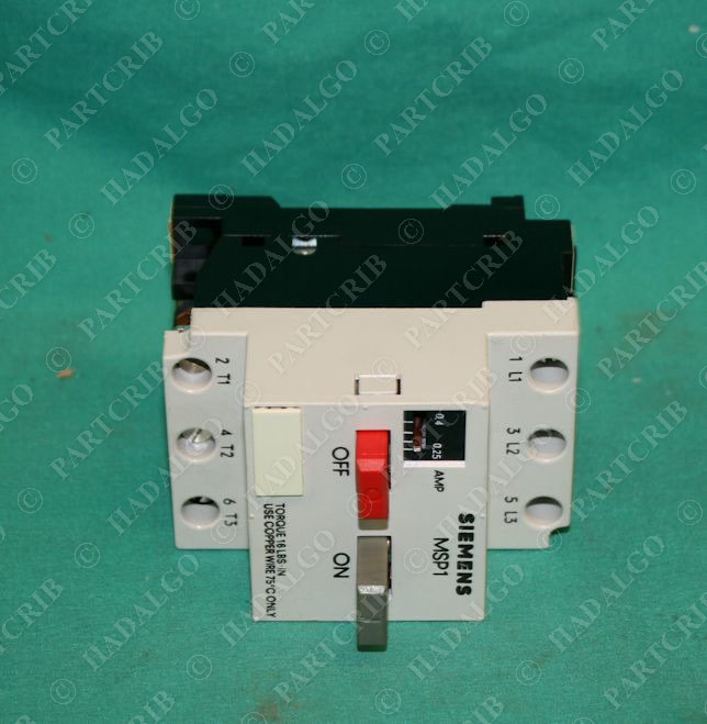 Siemens msp10ca11 msp10c manual starter protector 25 for Manual motor starter with overload protection