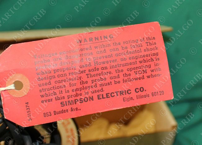 Simpson Electric Ac High Voltage Probe : Simpson electric high voltage test probe new