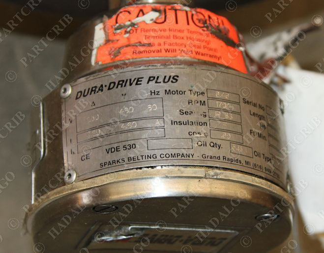sparks dura drive duradrive plus 149fpm drum motorized
