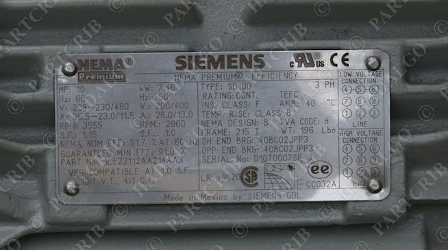 Siemens sd100 1le23112aa214aa3 nema premium efficiency for 10 hp motor weight