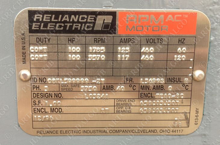 Reliance baldor 08kl599999 zy l3699s 1785rpm 100hp for Electric motor 100 hp