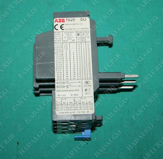 Abb ta25du 0 4 thermal overload relay motor protector for Motor thermal overload protection