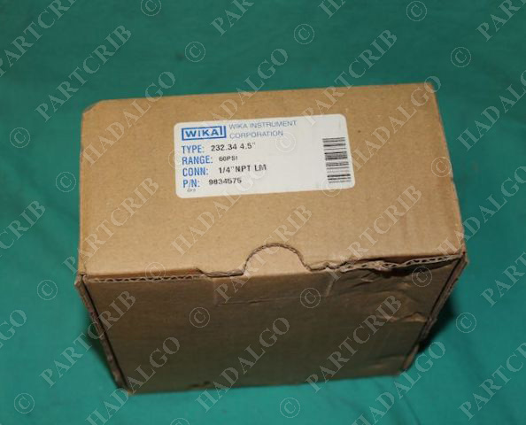 "Wika, 232.34 4.5"", 9834575, Process Gauge 1/4"" NPT LM 60psi NEW"