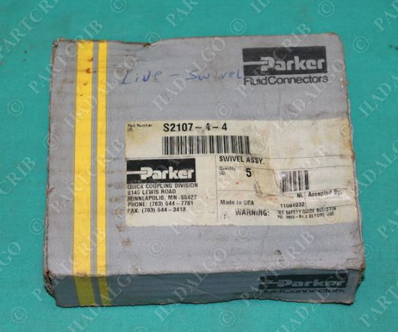 Parker, S2107-4-4, Swivel Assembly Quick Coupling S Series Box of 4