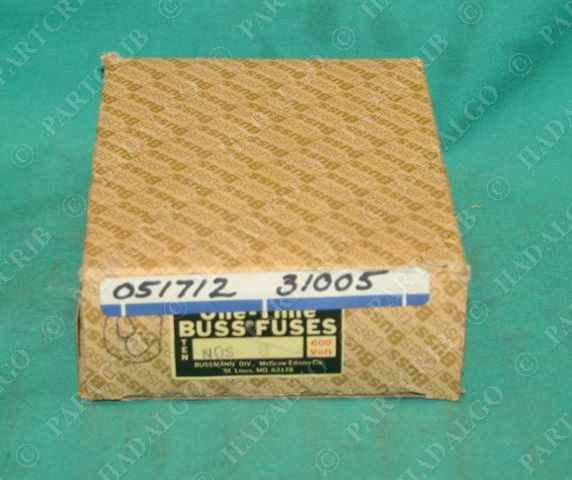 Buss NOS-8 One Time Fuses 8 amp 600V Box of 10 NEW