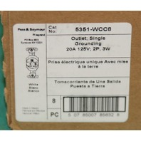 Pass & Seymour 5351-WCC8 Outlet 20a 2p single grounding