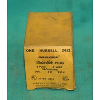 Hubbell 2421 Twist Lock Plug 3Pole 4Wire 20Amp 250V NEW