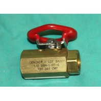 "Gemini 1/2 86M-1-RT-6 6R Ball Valve .5"" 720psi NEW"