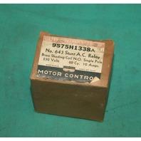 Cutler-Hammer, 9575H1338A, 643 Shunt AC Relay 230v NEW